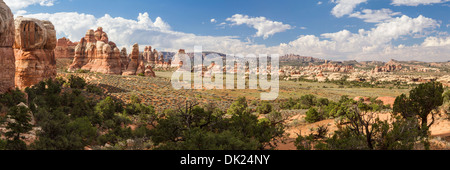 Panoramic view of unique rock spires in Chesler Park in the remote Needles District of Canyonlands National Park, - Stock Photo