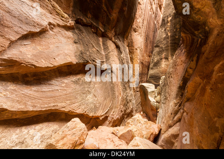 Joint Trail slot canyon off Chesler Park in the remote Needles District of Canyonlands National Park, Utah - Stock Photo
