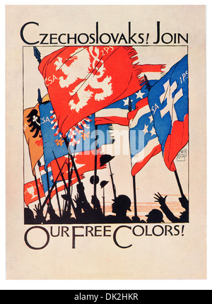 Designed by Vojtěch Preissig. Czechoslovaks ! Join our Free Colours.  One of six Recruiting posters issued by the - Stock Photo