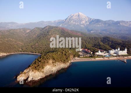 Aerial view of Tekirova Beach and Amara Dolce Vita Hotel Antalya Turkey - Stock Photo