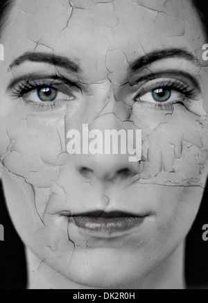 Woman with dry cracked skin, digital composite - Stock Photo