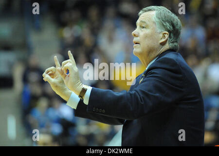 Feb. 20, 2011 - Berkeley, California, U.S - Cal head coach Mike Montgomery directs his team during the NCAA basketball game between the UCLA Bruins and the California Golden Bears at Haas Pavilion.  Cal held off UCLA 76-72 in overtime. (Credit Image: © Matt Cohen/Southcreek Global/ZUMAPRESS.com)