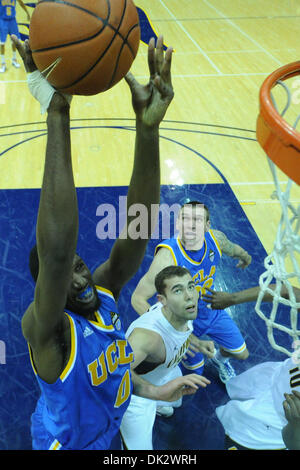 Feb. 20, 2011 - Berkeley, California, U.S - UCLA Bruins center Anthony Stover (0) puts up a shot during the NCAA basketball game between the UCLA Bruins and the California Golden Bears at Haas Pavilion.  Cal held off UCLA 76-72 in overtime. (Credit Image: © Matt Cohen/Southcreek Global/ZUMAPRESS.com)