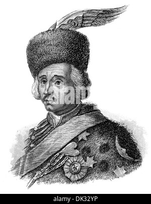 Hans Joachim von Zieten or Ziethen, 1699 - 1786, a Prussian cavalery general, - Stock Photo