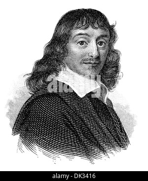 René Descartes or Renatus Cartesius, 1596 - 1650, a French philosopher, mathematician and scientist , - Stock Photo
