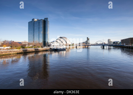 Looking up the River Clyde from the BBC Building - Stock Photo