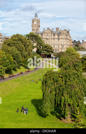 Princes Street Gardens with Balmoral Hotel, Edinburgh, Scotland - Stock Photo