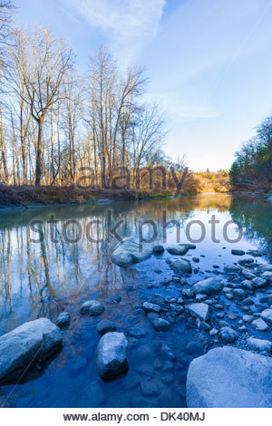 Waiting for winter on the Rouge River in Rouge National Urban Park inside Toronto Ontario Canada. - Stock Photo