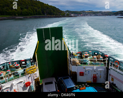 View from Caledonian MacBrayne car ferry leaving Oban in Argyll and Bute Scotland UK heading for Coll and Tiree - Stock Photo