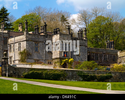 The exterior of Tissington Hall an early 17th-century Jacobean mansion house in Tissington village near Ashbourne - Stock Photo