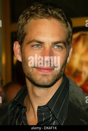 File - PAUL WALKER, an actor perhaps best known for his roles in the 'Fast and Furious' films died in a fiery car - Stock Photo