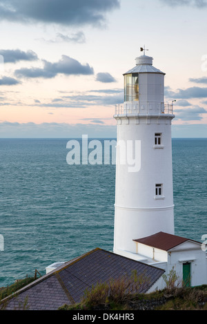 The lighthouse at Trevose Head near Padstow on the north coast of Cornwall - Stock Photo