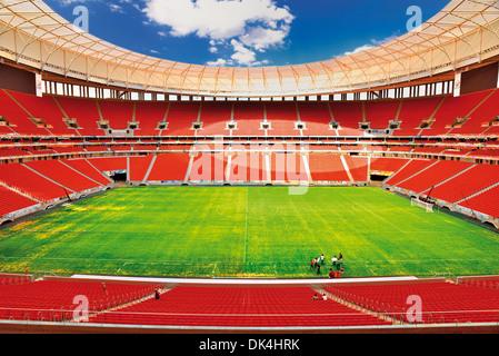 Brazil, Brasilia: Play field and seats of the new World Cup  National Stadium Mané Garrincha - Stock Photo