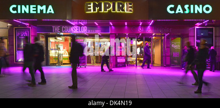Empire Leicester Square cinema and casino premises with coloured floodlighting - Stock Photo