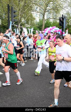 Apr 17, 2011 - London, England, United Kingdom - Runner dressed in a Buzz Lightyear outfit during the 2011 London - Stock Photo