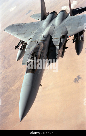 A US Air Force F-15 Eagle aircraft flies a patrol over the desert during Operation Desert Storm March 14, 1991 in - Stock Photo