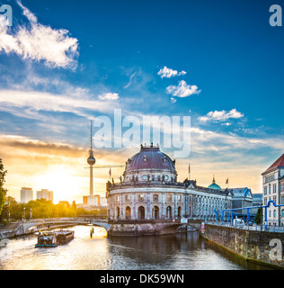 Berlin, Germany view of Museum Island and Television Tower. - Stock Photo