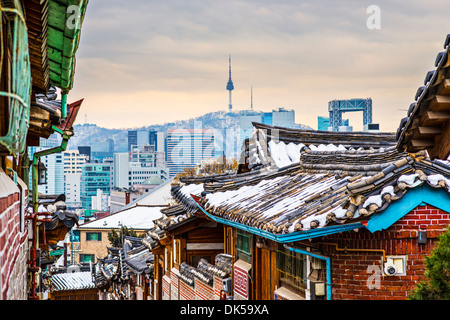 Seoul, South Korea at the Bukchon Hanok historic district. - Stock Photo