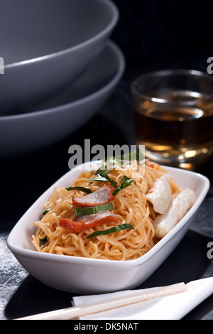 Stir-Fried Chinese Egg Noodles - Stock Photo