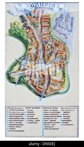 Street painted mural map of the historic Uzupis district of Vilnius, Lithuania - Stock Photo
