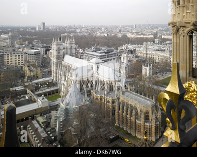 Westminster Abbey, London, United Kingdom. Architect: Several, 1745. View from Victoria Tower. - Stock Photo