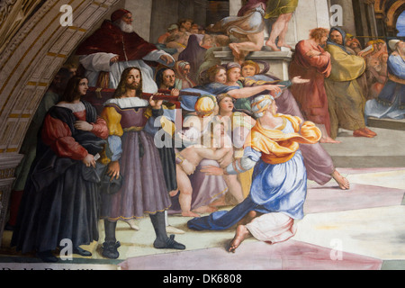 Detail from The Expulsion of Heliodorus from the Temple, a fresco designed and painted by Raphael (Raffaello Sanzio - Stock Photo