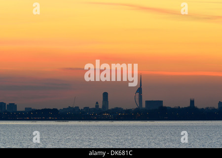 View of Portsmouth over Langstone Harbour, Hampshire - Stock Photo