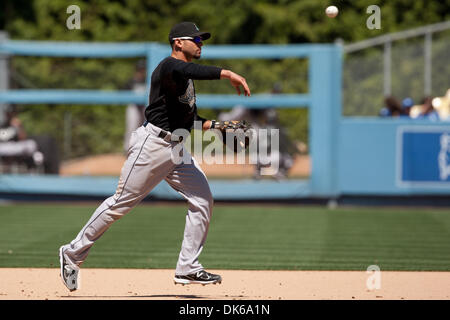 May 29, 2011 - Los Angeles, California, U.S - Florida Marlins second baseman Omar Infante #13 in action during the - Stock Photo