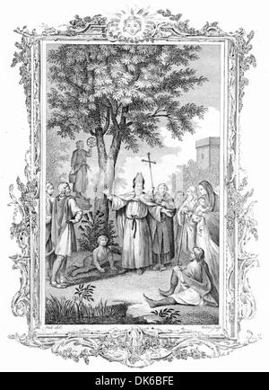 Berinus Converting the Saxons to Christianity - Stock Photo