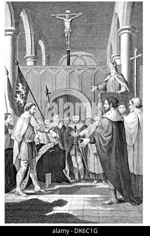 Anselm Fitz Arthur claiming the ground wherein William the Conqueror was going to be Buried - Stock Photo