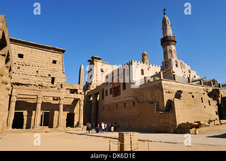 Court of Ramesses II with Mosque of Abu el Haggag on eastern side - Luxor Temple, Egypt - Stock Photo