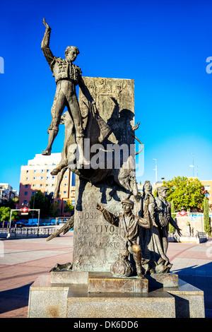 Madrid Landmark. Bullfighter sculpture in front of Bullfighting arena Plaza de Toros de Las Ventas in Madrid, a - Stock Photo