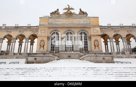 VIENNA - JANUARY 15: Gloriette from gardens of Schonbrunn palace winter. Gloriette was built in year 1775 - Stock Photo