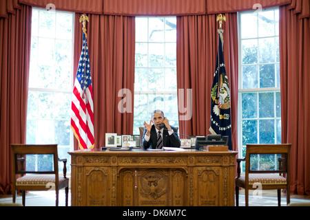U.S President Barack Obama talks on phone with Israeli Prime Minister Benjamin Netanyahu in Oval Office Washington D.C.  -