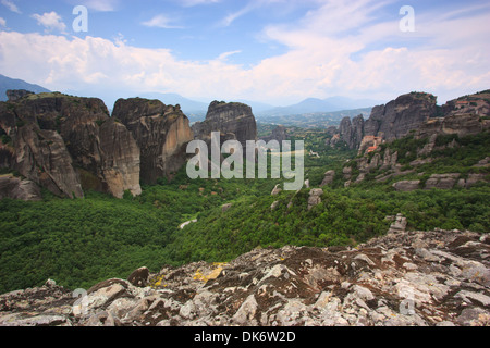 Monastery of Meteora and rocks - Greece - Stock Photo