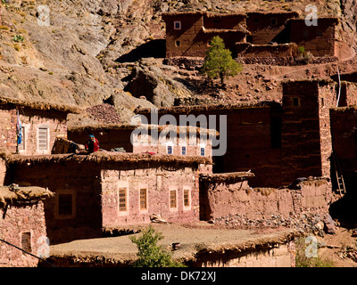 Berber architecture on the village of Megdaz often called the most beautiful village in the Moroccan Atlas - Stock Photo