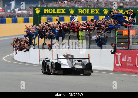 Jun 12, 2011 - Le Mans, France - Audi Sport driver ANDRE LOTTERER celebrates after winner the the 24 Hours of Le - Stock Photo