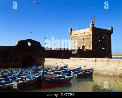Ramparts and bastion in Essaouira on the Atlantic coast, Morocco - Stock Photo