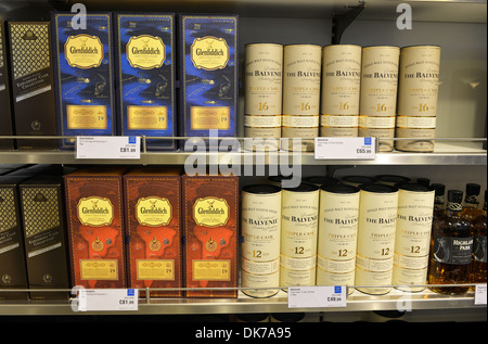 Whisky for sale, selection of bottles of Whisky - Stock Photo