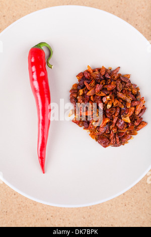 Close of red chili peppers on plate. - Stock Photo