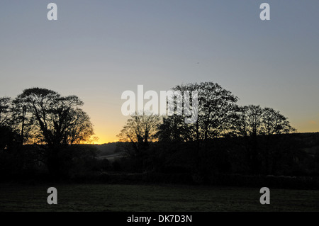 Late Autumn sunset over Darent Valley Kent England - Stock Photo