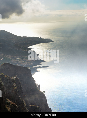 Madeira Portugal Aerial View towards the city of Funchal from the cliff top of Cabo Girao. - Stock Photo
