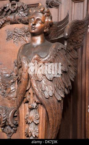 ANTWERP, BELGIUM - SEPTEMBER 5: Carved cherub in St. Charles Borromeo church on September 5, 2013 in Antwerp, Belgium - Stock Photo