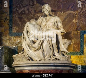 'Pietà' by Michelangelo, Saint-Peter's Basilica, Vatican City. - Stock Photo
