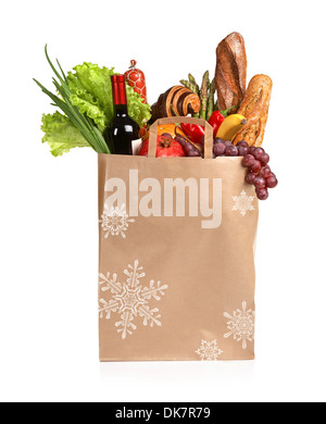 A paper bag full of groceries - Stock Photo