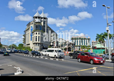 Traffic at Caudan Waterfront, Port Louis, Mauritius. - Stock Photo