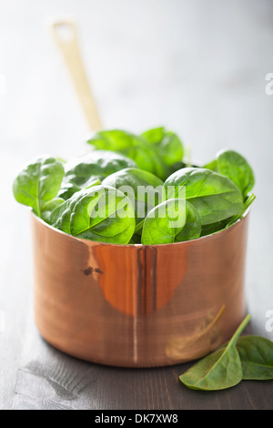 baby spinach leaves in copper pot - Stock Photo