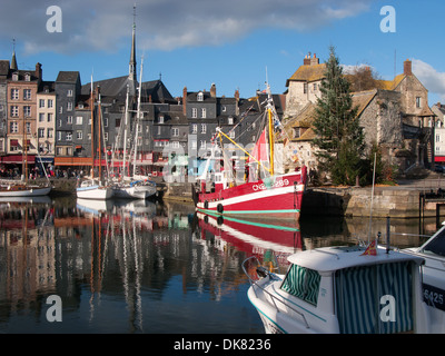 NORMANDY, FRANCE. The picturesque harbour in Honfleur on the Seine estuary. 2013. - Stock Photo