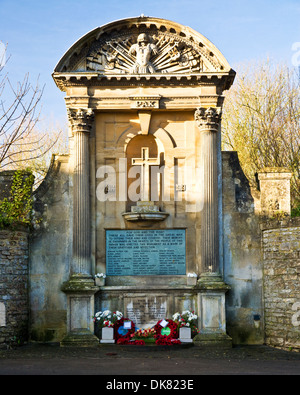 The war memorial in Lacock village in Wiltshire - Stock Photo
