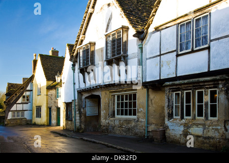 At the Sign of the Angel, one of the most famous medieval houses in the Wiltshire village of Lacock. - Stock Photo